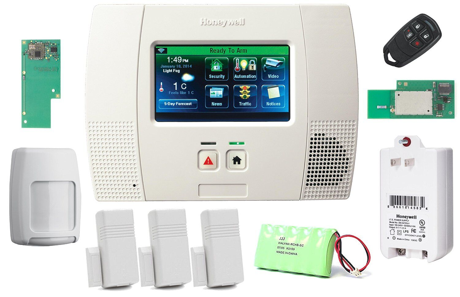 honeywell lynx touch l5200 wireless home security automation system. Black Bedroom Furniture Sets. Home Design Ideas